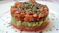Tartaleta de frio de salmón, mango y aguacate