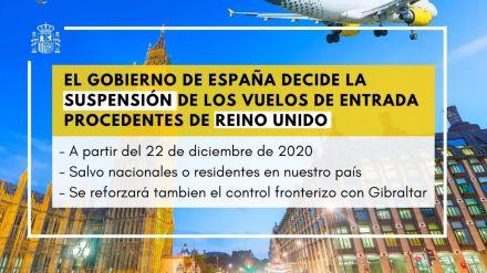 Suspendidos los vuelos de entrada a España procedentes de Reino Unido