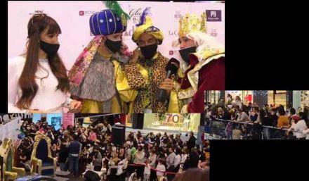 Avalancha de personas para ver a Omar Montes y Kiko Rivera de Reyes Magos en un centro comercial