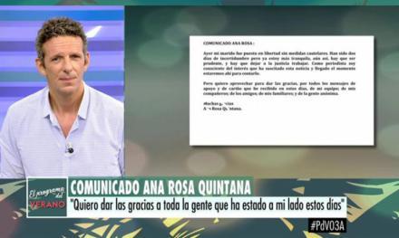 Ana Rosa Quintana se pronuncia tras la detención de su marido