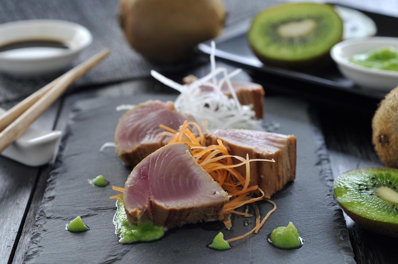 El kiwi un ingrediente ideal para dar un toque - Platos gourmet con pescado ...